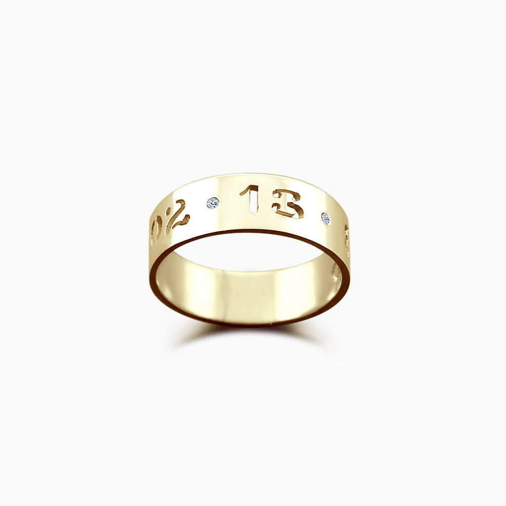 5mm 14k Gold Cutout Date Ring w/ Diamond Accents