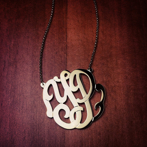 14k Gold Cut Out 2-Initial Monogram Necklace - Initials YP