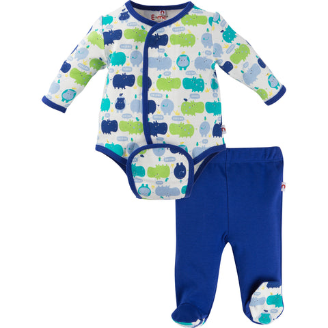 Boy Hippo Bodysuit Set
