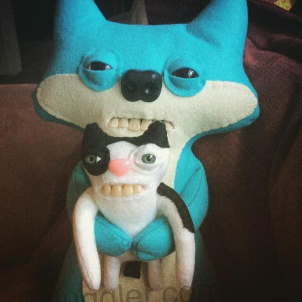 PLEASE READ LISTING Custom UPGRADED Fox Fuggler™ clutching a custom cat