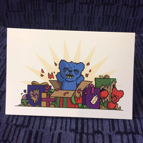 Fluffy Menacing Fuggler™ Christmas Card A6 - artist Stephen Waller
