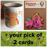 Fuggler™ Gift Set - Mug, Stickers and Two Greetings Cards
