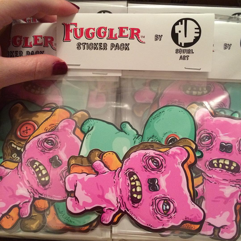 4 pack of Fuggler™ Vinyl Stickers (designed by Squirl-Art) - Limited Edition Run of 150