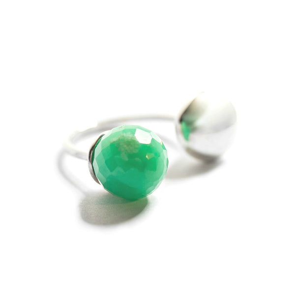 Silver & Faceted Chrysoprase Ring