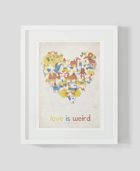 Framed Art print by Alex Latimer entitled Love is Weird.