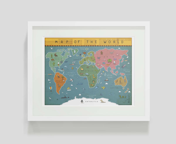 Framed art print Map of the World by Alex Latimer