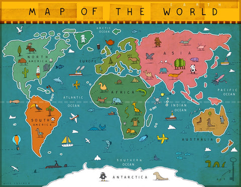 Art print Map of the World by Alex Latimer