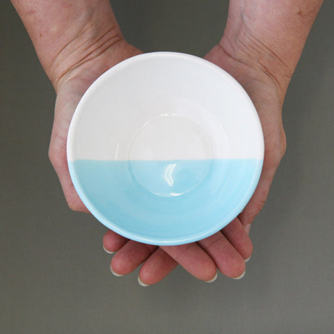Pastel dipped, slipcast bowl in Arctic - large