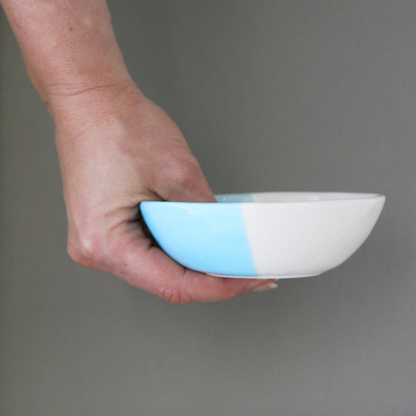 Pastel dipped, slipcast bowl in Arctic - small, medium and large