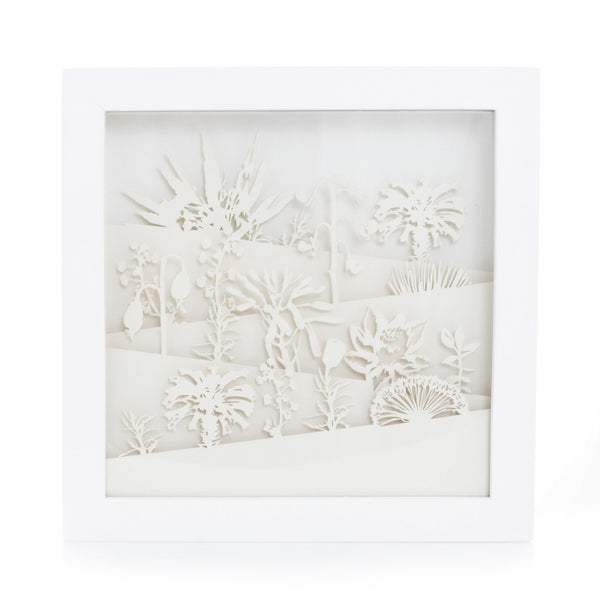 Framed exquisite and delicate paper sculptures; Botanical by Artymiss