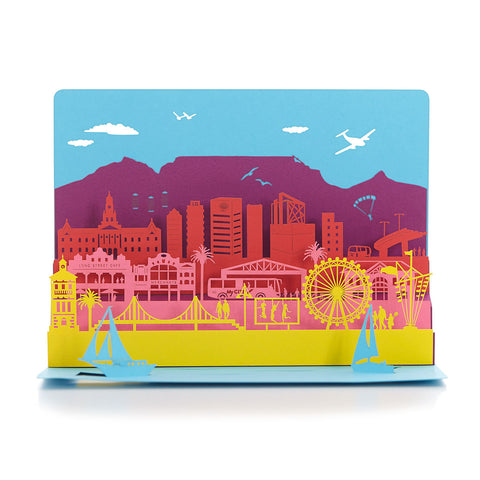 Exquisite and delicate paper cut cards, Colourful Cape Town by Artymiss