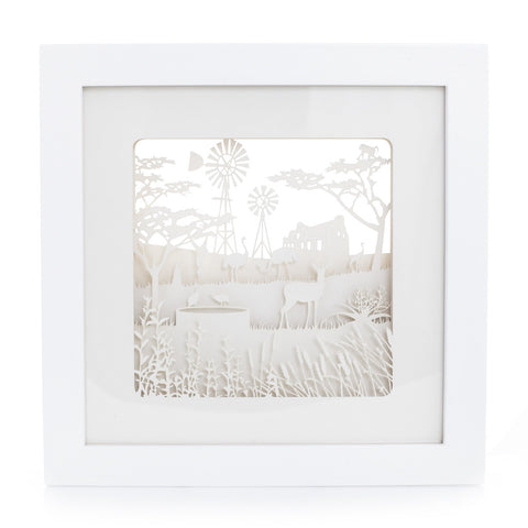 Framed exquisite and delicate paper sculptures; Karoo by Artymiss