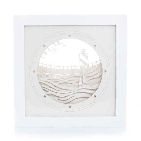 Framed exquisite and delicate paper sculptures; Porthole by Artymiss