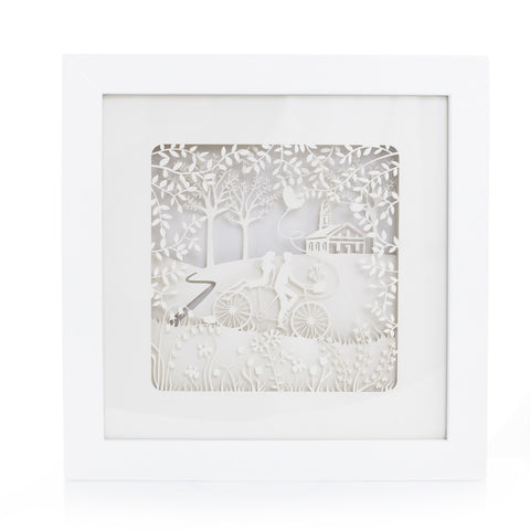 Framed exquisite and delicate paper sculptures; Sweetheart's Voyage by Artymiss