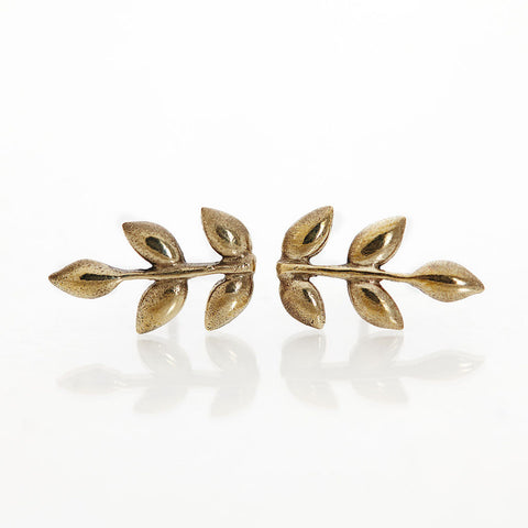 Brass Olive Branch Studs