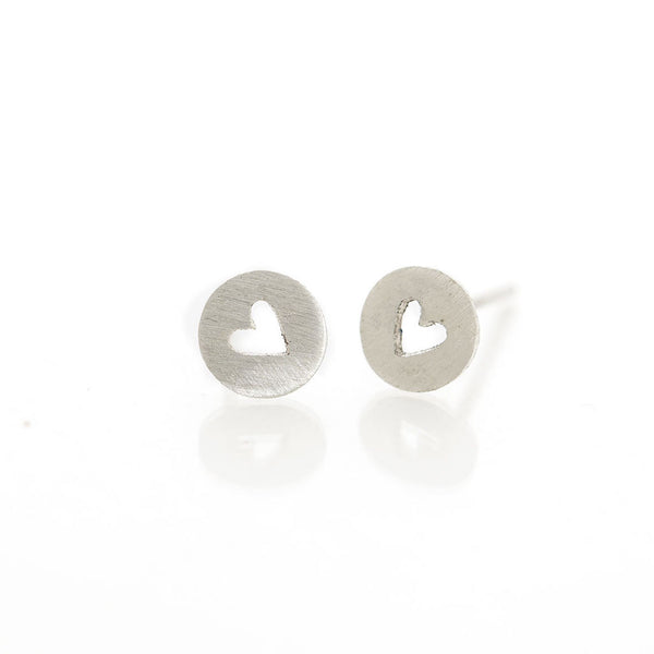 Silver Encircled Heart Studs