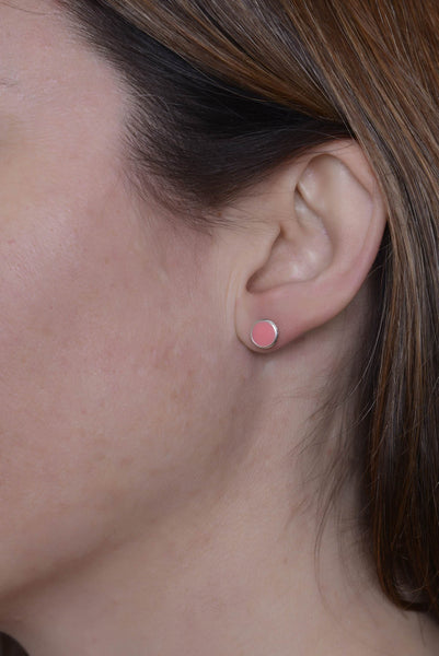 Limited Edition Blossom Soft Pink Enamel Studs by Long Jean Silver styled