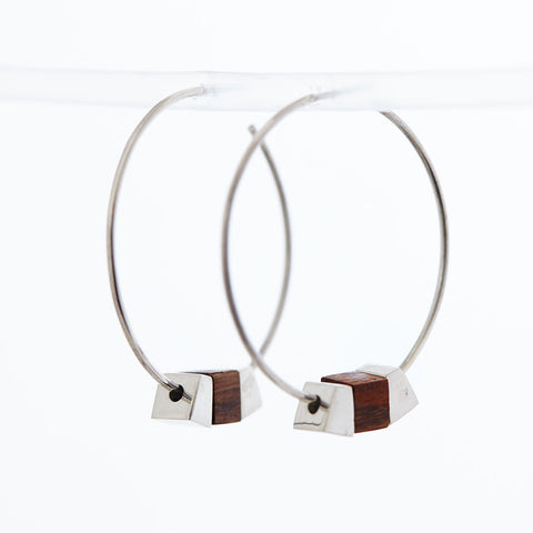 Silver and Bamboo Hoop Earrings by Long Jean Silver