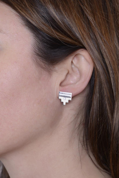 Silver Ceca Step Studs by Long Jean Silver styled