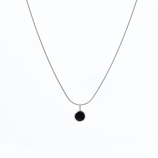 Black Enamel Pendant Necklace by Long Jean Silver