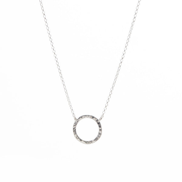 Textured Circle Pendant Necklace styled