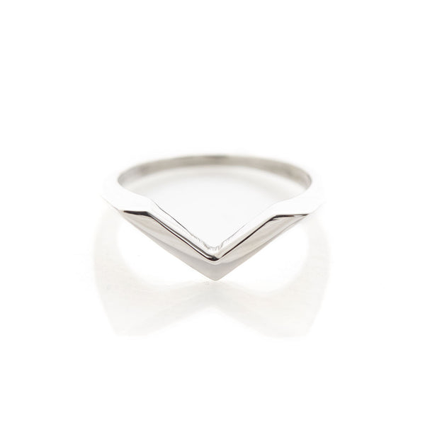 Hollow Triangle Sterling Silver Stacking Signet Ring by Long Jean Silver