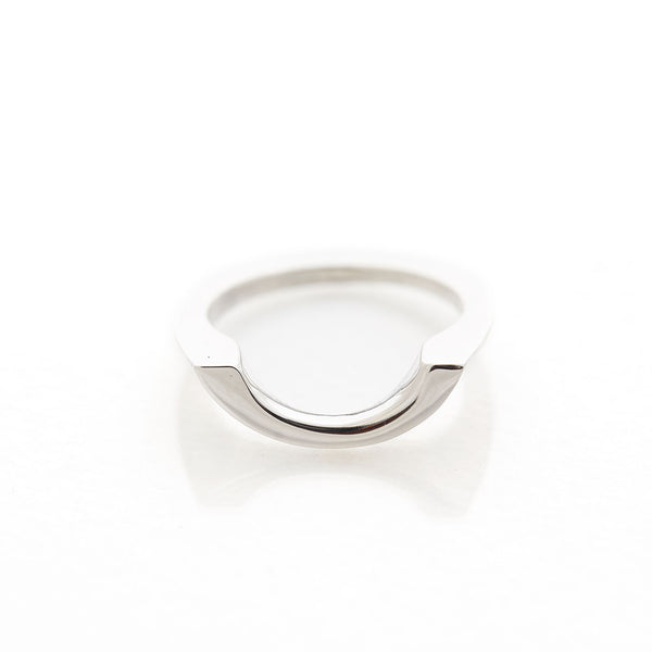 Hollow Halfmoon Sterling Silver Stacking Signet Ring by Long Jean Silver