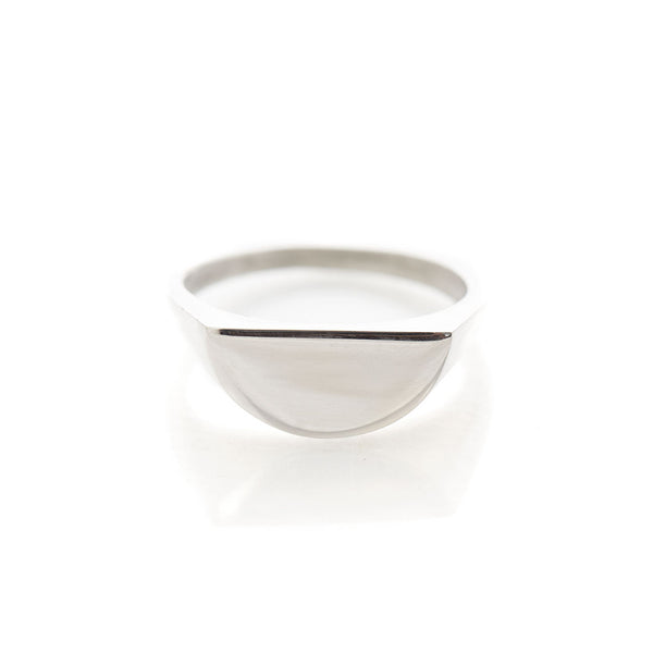Halfmoon Sterling Silver Stacking Signet Ring by Long Jean Silver