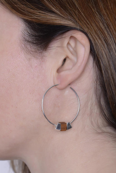 Silver and Bamboo Hoop Earrings by Long Jean Silver styled