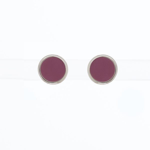 Limited Edition Succulent Flower Purple Enamel Studs by Long Jean Silver