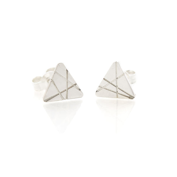 Textured Triangle Studs by Long Jean Silver