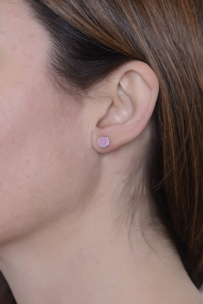 Limited Edition Succulent Flower Purple Enamel Studs by Long Jean Silver styled
