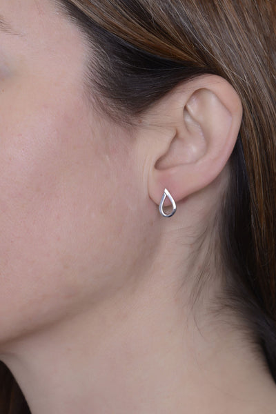 Overlapping Teardrop Studs by Long Jean Silver styled