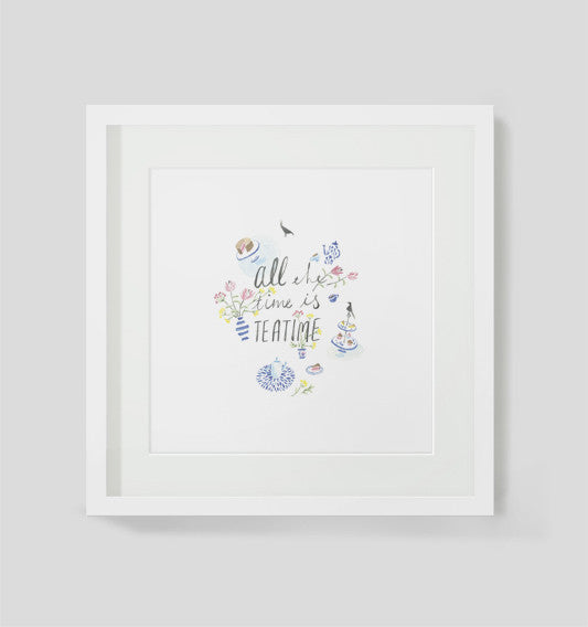 Framed Limited Edition Art print by Maria Lebedeva entitled All The Time is Tea Time