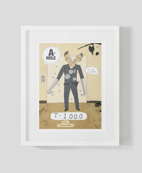 Framed art print A-holes and D-bags: T-1000 by Patrick Latimer