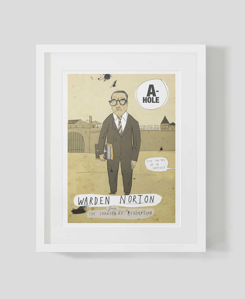 Framed illustrated art print A-holes and D-bags: Warden Norton by Patrick Latimer
