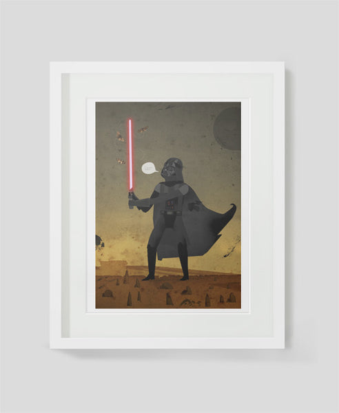 Framed art print Shoo! Darth Vader by Patrick Latimer