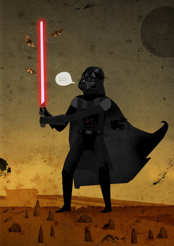 Art print Shoo! Darth Vader by Patrick Latimer