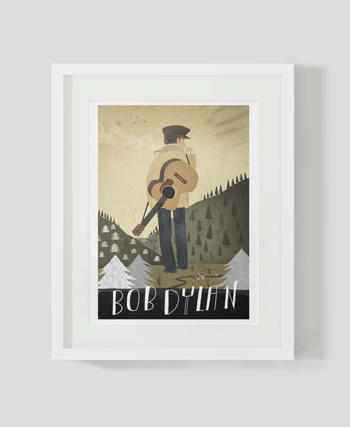 Framed art print Folk Music Heroes: Bob Dylan by Patrick Latimer