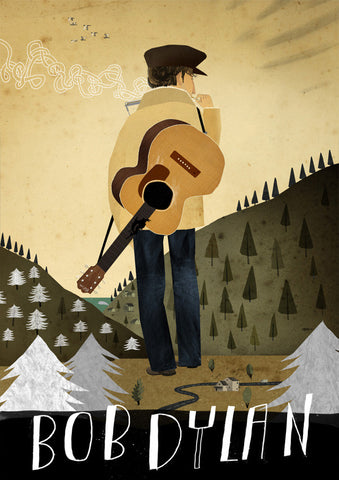 Art print Folk Music Heroes: Bob Dylan by Patrick Latimer