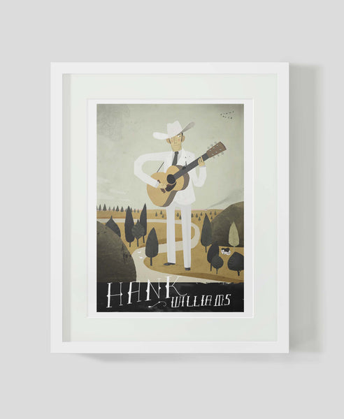 Framed art print Folk Music Heroes: Hank Williams by Patrick Latimer