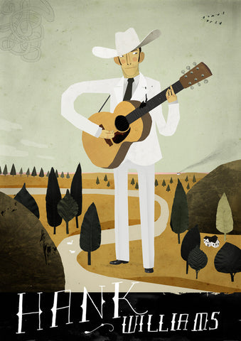Art print Folk Music Heroes: Hank Williams by Patrick Latimer