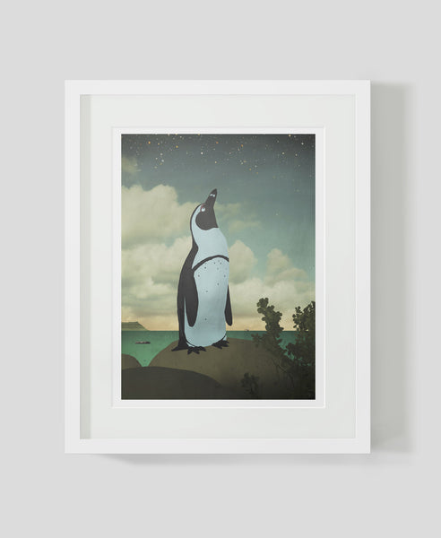 Framed art print Night penguin by Patrick Latimer