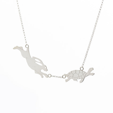 Bunny vs Tortoise Necklace by Reverie Designs