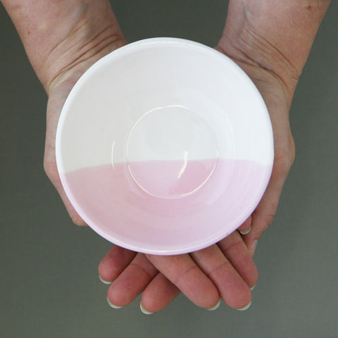 Pastel dipped, slipcast bowl in Rose - large