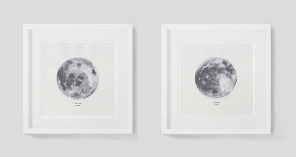 Moons by Sarah Wocknitz (Diptych) framed