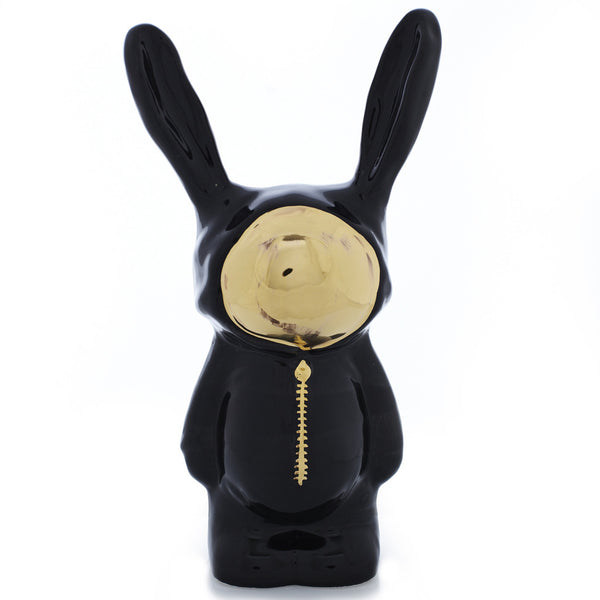 Black Ceramic Bunny Sculpture with gold luster face by Sootcookie