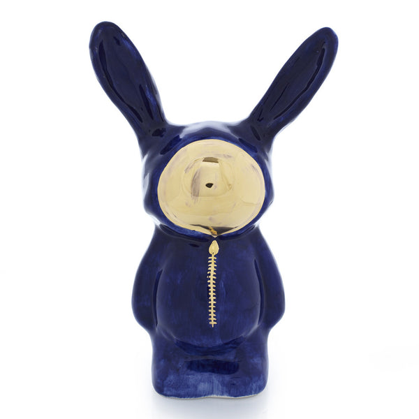 Dark Blue Ceramic Bunny Sculpture with gold luster face by Sootcookie