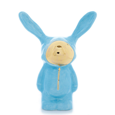 Light Blue Ceramic Bunny Sculpture with gold luster face by Sootcookie