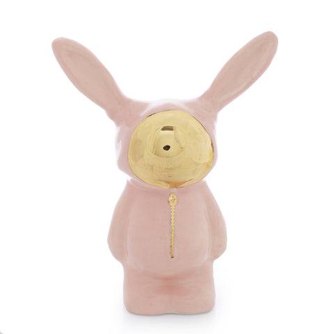 Pink Ceramic Bunny Sculpture with gold luster face by Sootcookie